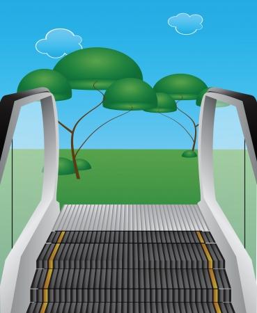 Escalator from the ground in the wild. Vector illustration. Ilustração