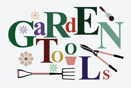 Text Garden Tools in creativity with pitchforks, shovels and clippers. Vector illustration.