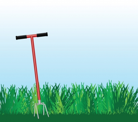 cultivator: Hand cultivator on green lawn. Vector illustration. Illustration