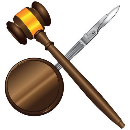 Negligence in surgery scalpel and judicial gavel. Vector illustration.