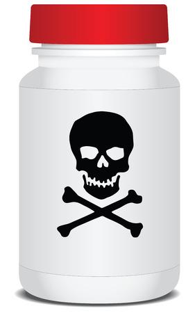 Drug verpakking met een waarschuwing over het gif. Vector illustratie. Stock Illustratie