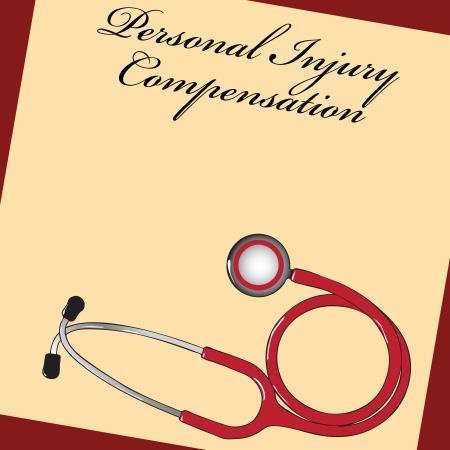 compensate: Document personal injury compensation related to medicine. Vector illustration.