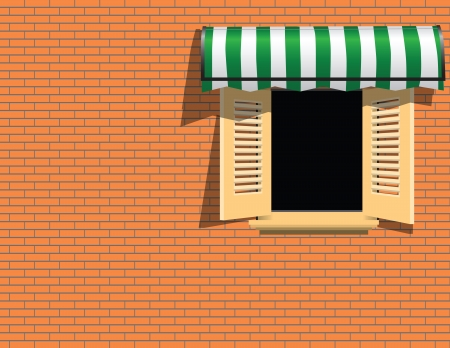 Brick wall with awning above the window. Vector illustration. Stock Vector - 22605333