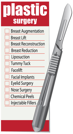 plastic surgery: Plastic surgery is a list of services. Vector illustration. Illustration