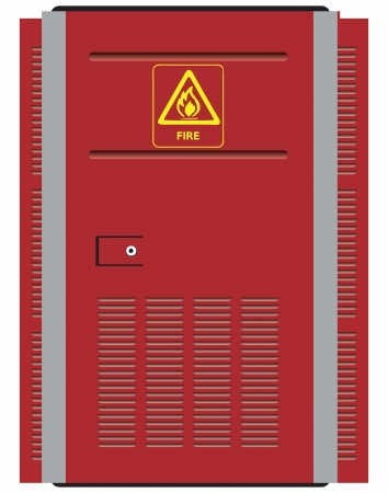 electric power station: Red steel door with a warning symbol fire. Vector illustration.