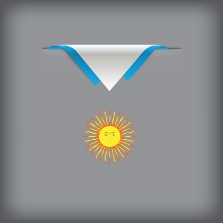 token: State symbols and colors of the flag of Argentina. Vector illustration.