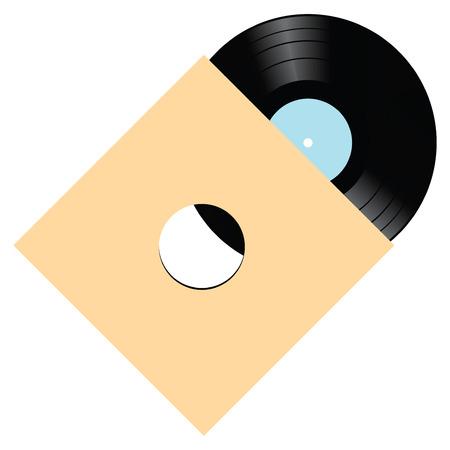 Vinyl record met diverse muzikale composities. Vector illustratie. Stock Illustratie