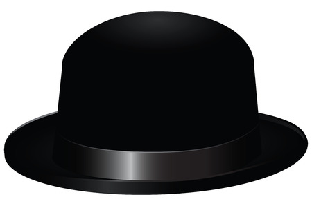 Black bowler hat, also known as a bob hat. Vector illustration.
