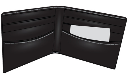 waste money: Black leather wallet with business card. Accessories. Vector illustration.