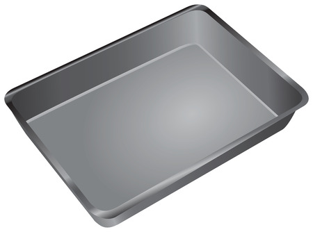 tin: A rectangular pan for cooking and baking in the oven. Vector illustration.