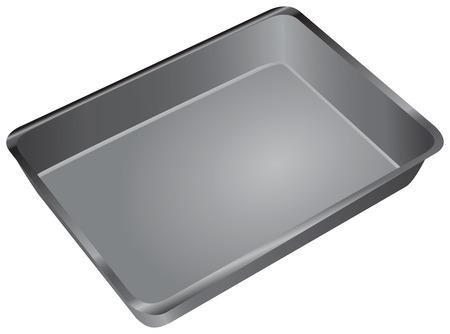 Een rechthoekige pan voor het koken en bakken in de oven. Vector illustratie.