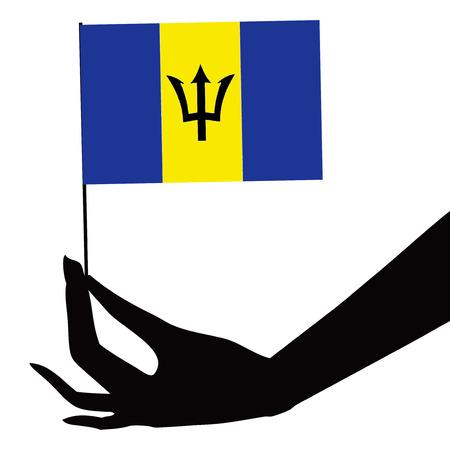 Barbados flag in his hand. Vector illustration. Illustration