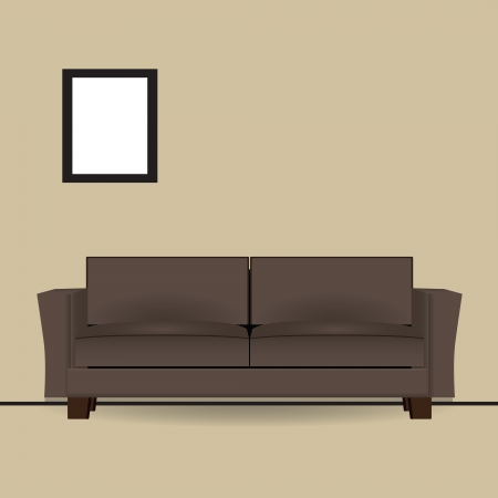 Brown sofa in interior with a picture on the wall. Vector illustration.