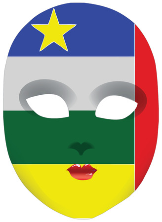 Classic mask with symbols of statehood of Central African Republic. Vector illustration Ilustração
