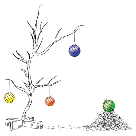 chipped: Christmas balls on the tree chipped. Vector drawing hand.