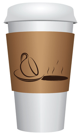 Cup coffee with closing lid. Coffee does not tip over. Vector illustration. Vector