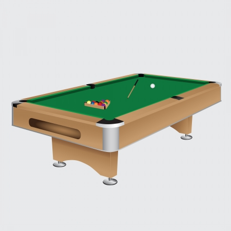 Pool table with balls and cue. Vector illustration. Çizim