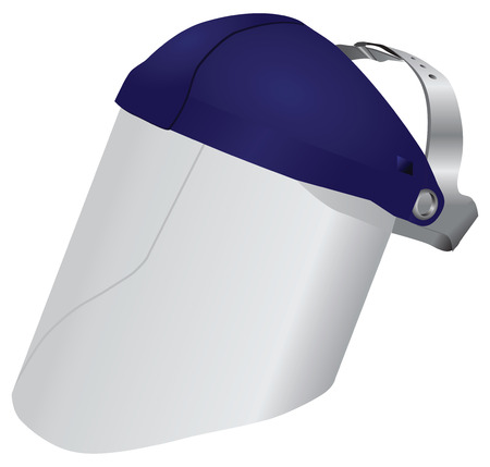 Professional face shield to protect your face. Vector illustration.