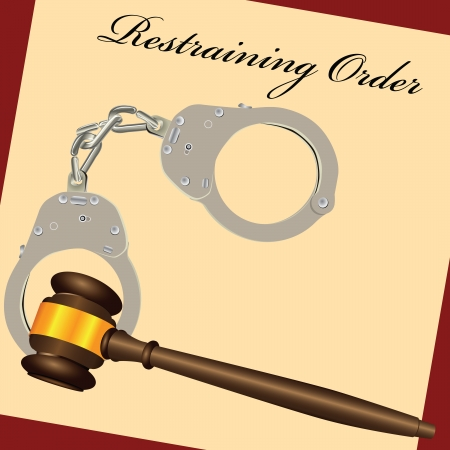 Restraining Order with the court hammer and handcuffs. Vector illustration.