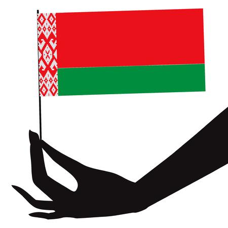 彼の手でベラルーシの国旗。ベクトル イラスト。
