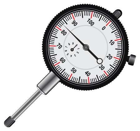 Easy to read Dial indicator' white face with black markings. Vector illustration.