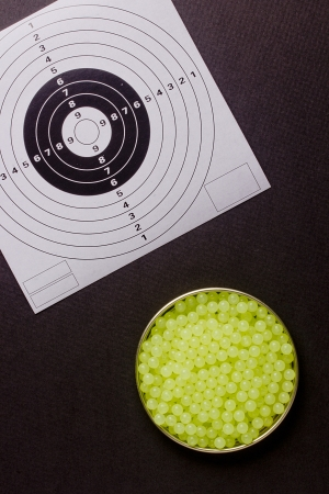 airgun: Plastic bullet shooting guns used with air or gas. Stock Photo