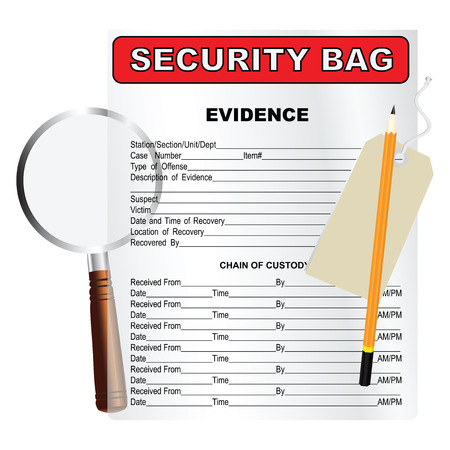 Items for the search and cataloging evidence. Vector illustration. Illustration