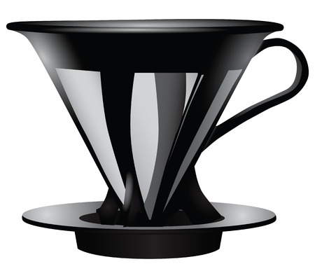 funnel: Funnel for straining coffee with the metal filter. Vector illustration.