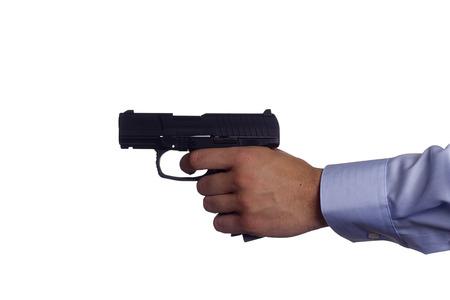 glock: Hand white man with a gun. Crime.