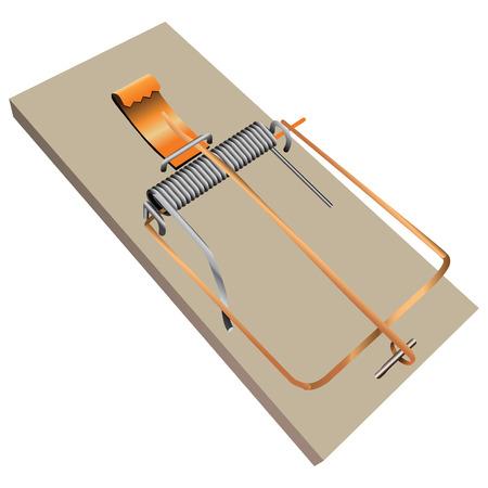 Classic wooden mousetrap for domestic use. Vector illustration. Illusztráció