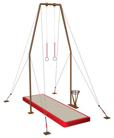 Gymnastic rings - equipment in sports gymnastics. Vector illustration.
