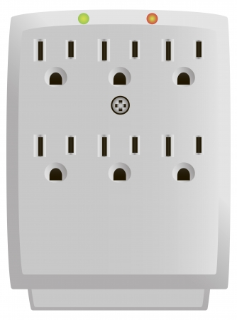 Six Outlet Wall-Mount Surge Protector. Vector illustration. Stock Illustratie