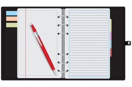 Pen on the open organizer. Vector illustration.