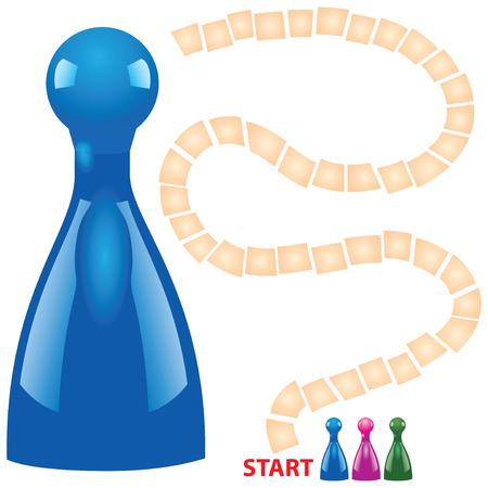 brettspiel: Kinder Brettspiel mit Chips. Vektor-Illustration. Illustration