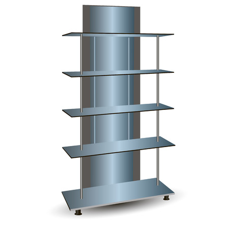 retail display: Mirror commercial shelving for cosmetics. Vector illustration.