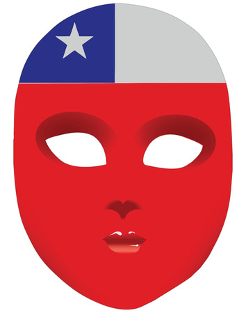 Classic mask with symbols of statehood of Chile. Vector illustration 向量圖像