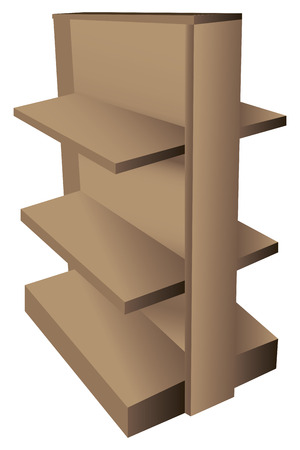 product display: Two way wooden shelving for sales organizations. Vector illustration.