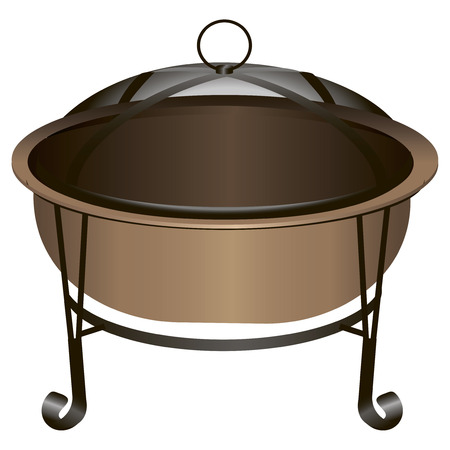 The copper fire pit with protective netting. Vector illustration. Vectores