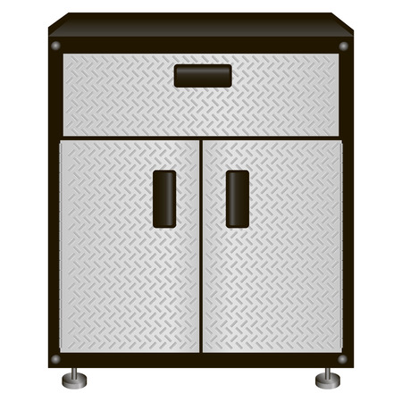 The two-door steel cabinet with drawers for tools  Vector illustration