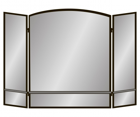 Three Pane arch screen with two lines for the fireplace  Vector illustration