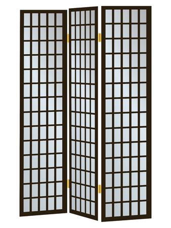3 つのウィンドウ パーティション ベクトル図として木製スクリーン  イラスト・ベクター素材