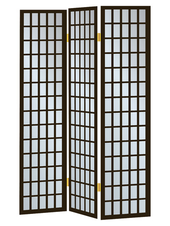 screen: Three-pane wooden screen as a partition  Vector illustration