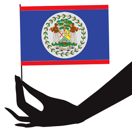 Belize flag in his hand. Vector illustration.