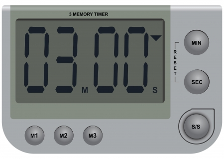 Digital timer with the ability to memorize the three options of time. Vector illustration. Ilustração