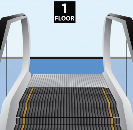 Escalator stairs. Movable stage to transport people between floors. Vector illustration.