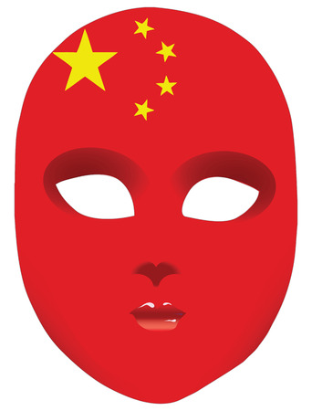 Classic mask with symbols of statehood of China. Vector illustration