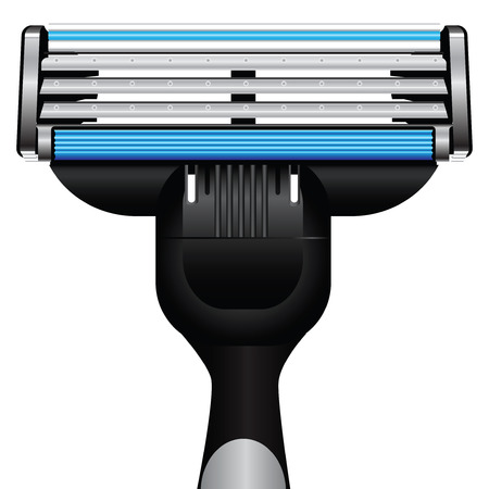 morning rituals: Modern razor with three blades. Vector illustration. Illustration