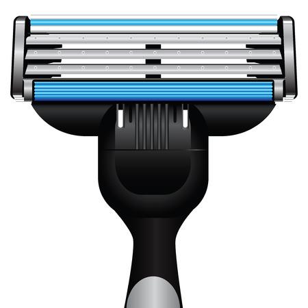 razor: Modern razor with three blades. Vector illustration. Illustration