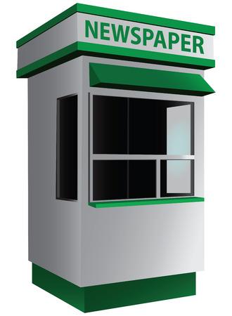 Stad kiosk verkopen kranten en tijdschriften. Vector illustratie.