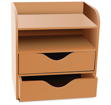 drawers: Office shelves with drawers - Desk Organizer. Vector illustration.